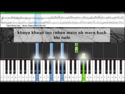 ♫ Tujhe Bhula Diya (Anjaana Anjaani) | Piano Tutorial + Music Sheet + MIDI with Lyrics