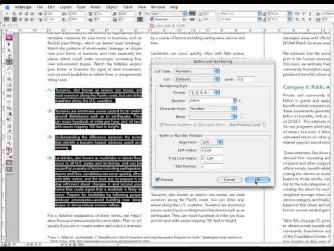 InDesign: Numbered Lists