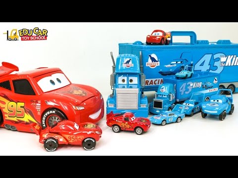 Thumbnail: Learning Special disney Big Lightning McQueen with dinoco blue truck color Names for kids car toy