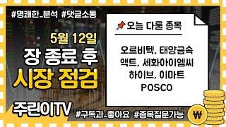 5월 12일 장 종료 후 시장점검 - 오르비텍, 태양금…