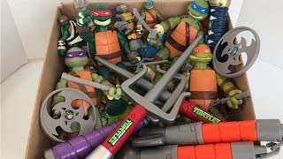 Box Full of  Teenage Mutant Ninja Turtles Toys | Mutant XL Collection | TMNT Weapons | Toys & Candy