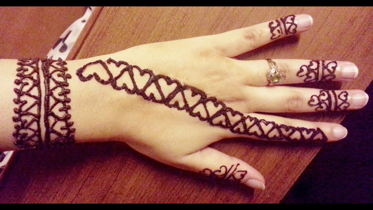 Simple Quick Hearts Henna Design Valentines Day Easy Henna Strip