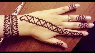 Simple Quick Hearts Henna Design - Valentines Day Easy Henna Strip Tattoo for beginners