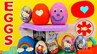 18 surprise eggs play doh thomas train spiderman dora disney cars planes hello kitty kinder egg toys
