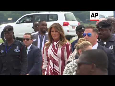 Improved quality of Melania Trump arriving in Accra at start of Africa visit