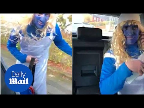 Man Left In BLUE As Pals Prank Him By Wearing As Smurf On Day Out - Daily Mail
