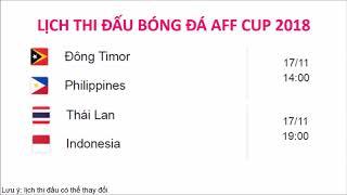 Lịch thi đấu AFF SUZUKI CUP 2018 VÒNG BẢNG