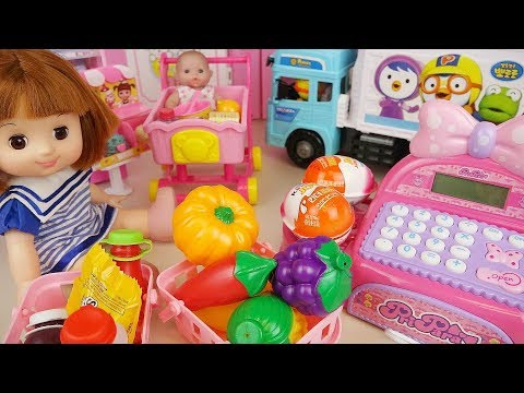 Ba doll food mart register and suprise eggs play