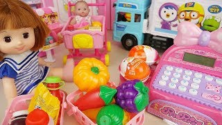 Baby doll food mart register and suprise eggs play