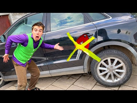 Red Man tapped Car Keys with Scotch Tape to Door VS Mr. Joe on Audi Q3 13+