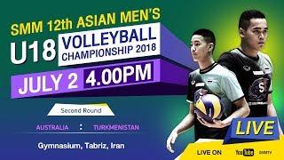 Australia vs Turkmenistan  Second  SMM 12th ASIAN MENS U18 VOLLEYBALL CHAMPIONSHIP 2018