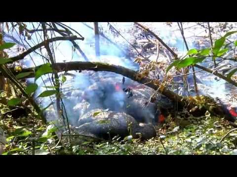 raw-video-hawaiian-puna-lava-flow-up-close-breakouts-near-cemetery