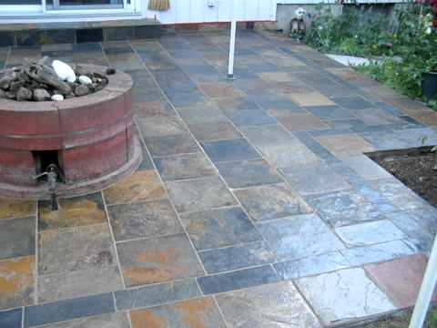 Slate Back Patio Installationmov You Can Tile A Concrete