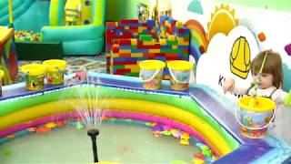 Funny toys playing with Milana at outdoor playground for kids Video for children