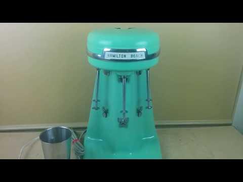 Vintage Hamilton Beach Milkshake Maker 3 Head Triple  Mixer Green Jadeite