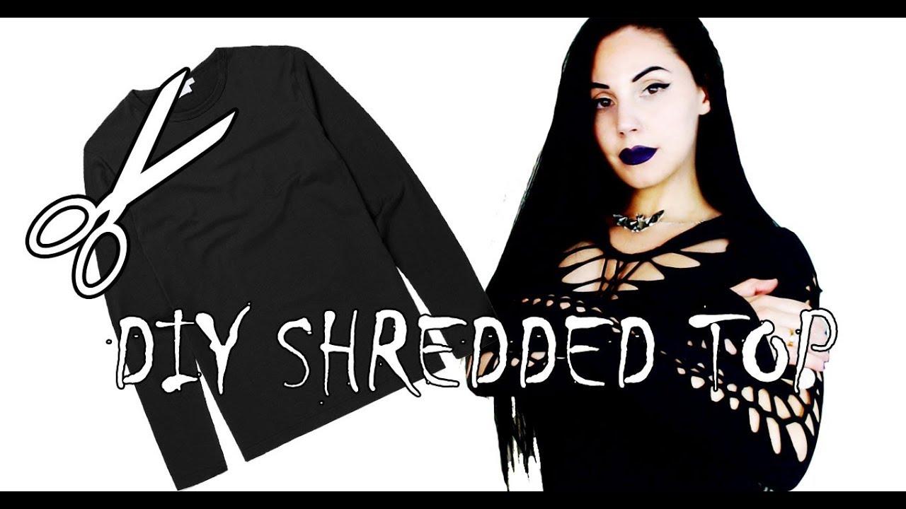 Goth DIY Shredded Top Tutorial + Thrift Store Vlog