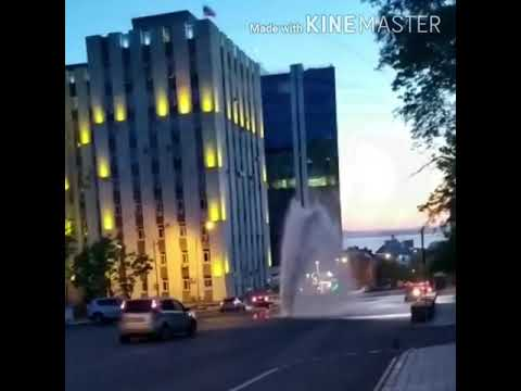Перед зданием администрации Владивостока прорвало теплотрассу