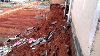 11 casas são interditadas após muros e áreas de serviço desabarem