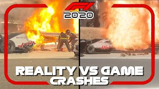 F1 2020 REAL LIFE CRASHES VS GAME