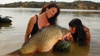 LUCKY GIRL FISH A BIG CARP OVER 60 LBS PART ONE - HD by CATFISHING WORLD