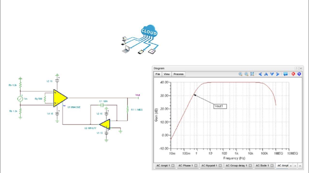 online circuit simulation of an instrumentation amplifier. Black Bedroom Furniture Sets. Home Design Ideas