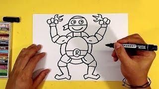 Как нарисовать Черепашку Ниндзя Рафаэля 1 / уроки рисования от РыбаКит
