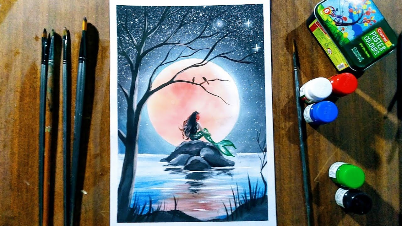 Mermaid Moonlight Scenery Drawing With Poster Colour Step By Step Youtube
