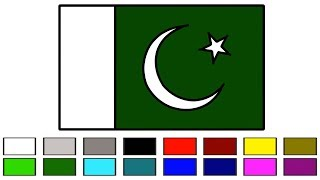 Pakistan Flag How to Draw and Coloring Step by Step For Kids Easily || Pakistani Flag || Little Baby
