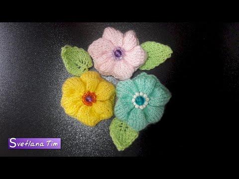 Цветы вязаные спицами видео