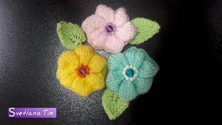 Цветок (цветы). Вязание спицами # 451
