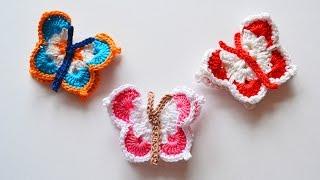 Бабочки крючком, мастер класс. Butterfly crochet.
