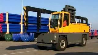 Baumann Cavaion Seitenstapler GS 80 Lastschere und Langguttraverse, Sideloader pantograph