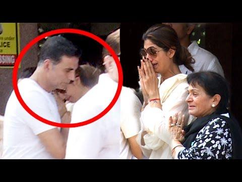 Emotial Shilpa Shetty CRIES & HUGS Akshay Kumar At Fathers Last Rights Ceremy