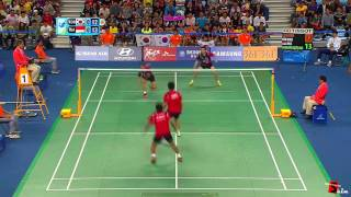 best of badminton men double highlights funny moments trick shots dives