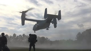U.S. Marines Dismount MV-22 Osprey During Exercise Bold Alligator 14!