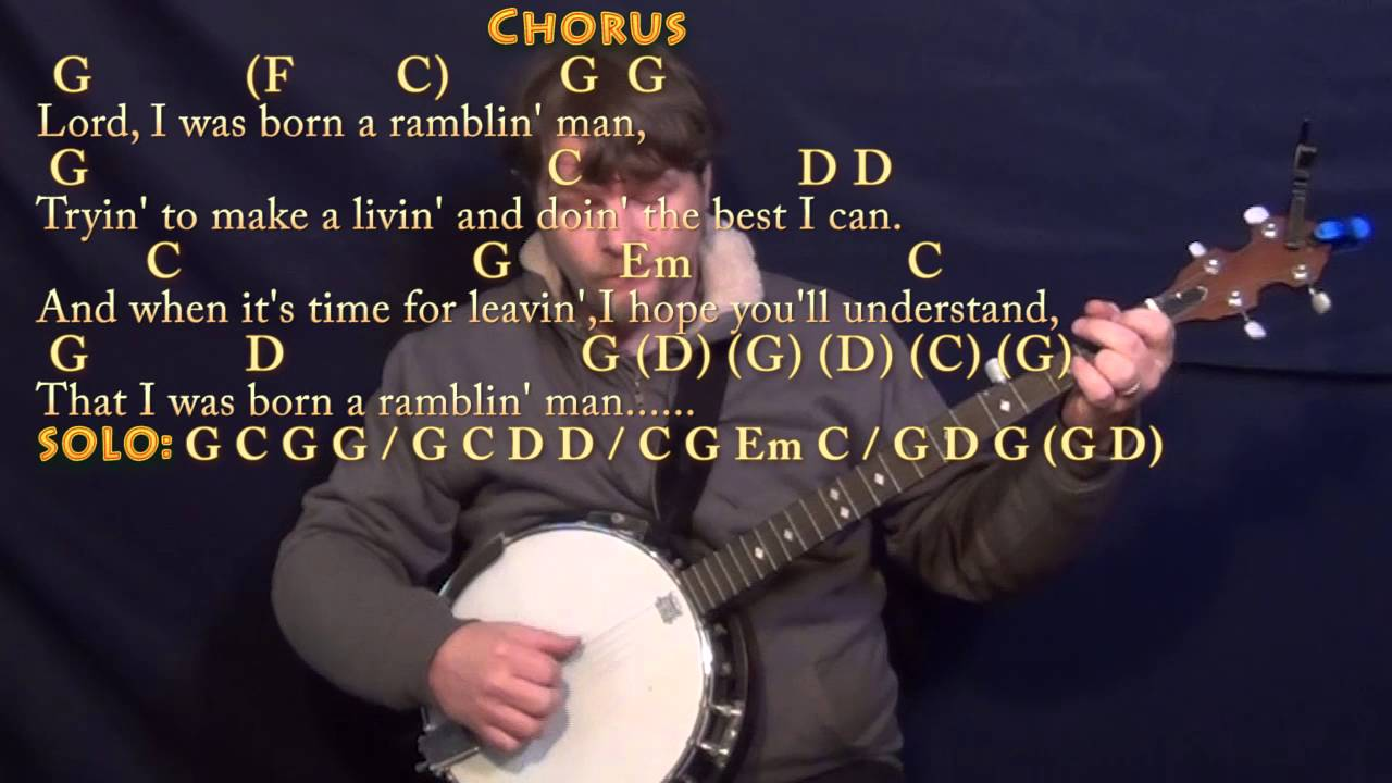 Ramblin Man Allman Brothers Banjo Cover Lesson In G With Chords