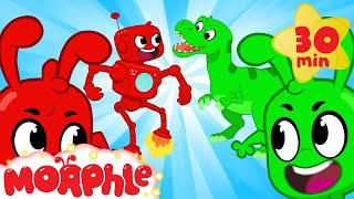 ORPHLE vs MORPHLE - Dinosaurs and Robots | BRAND NEW | Cartoons for Kids | Morphle TV