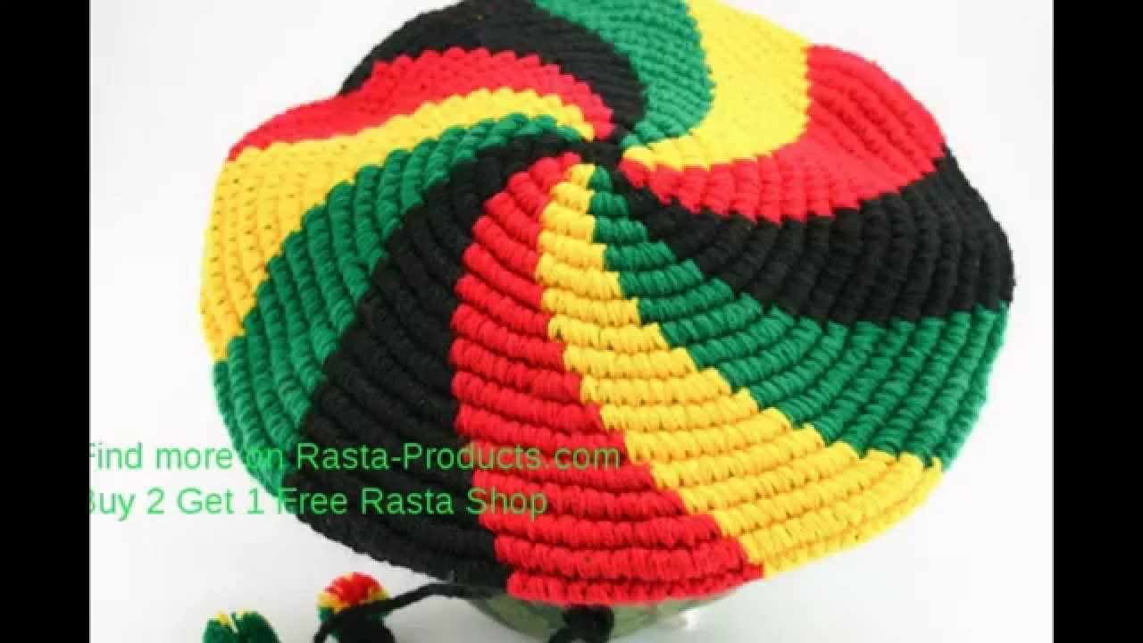RASTA KNIT HAT WITH VIZOR GREEN YELLOW RED SPIRAL DREADLOCKS HAT ...