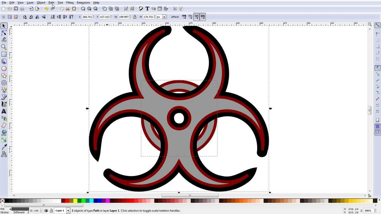 Inkscape Making A Biohazard Symbol Youtube