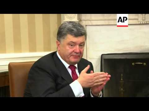 Ukrainian President Poroshenko meets Obama in the White House