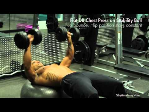 CHEST - Flat DB Chest Press on stability ball