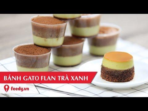 Hướng dẫn cách làm bánh gato flan trà xanh - Matcha Flan