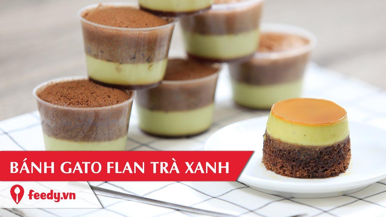 Hướng dẫn cách làm bánh gato flan trà xanh – Matcha Flan