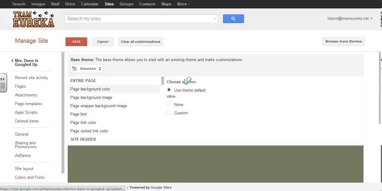 google sites changing theme background logo youtube