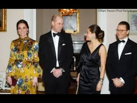 Nod to the princess  Kate wears Diana's earrings in Swedish royal family black tie dinner