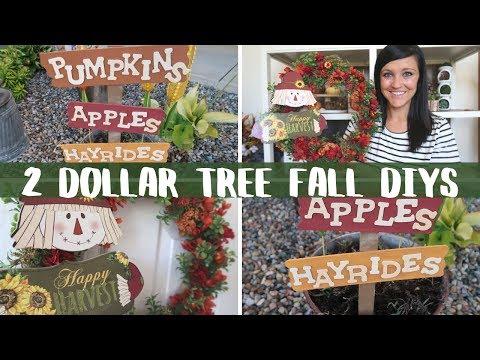 DIY DOLLAR TREE FALL DECOR   2 SIMPLE AND EASY DOLLAR TREE DIYS   FALL DIYS
