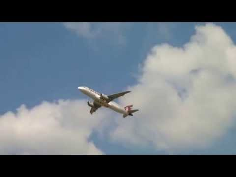 [Full HD]-Plane spotting at BEG/LYBE-Qatar airways Airbus A320-232 takeoff