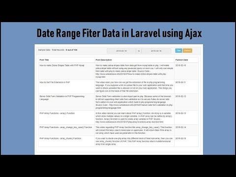 Date Range Filter Data in Laravel using Ajax