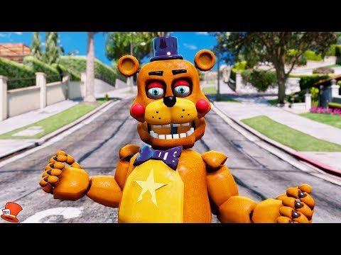 NEW ROCKSTAR FREDDY FNAF 6 ANIMATRONIC! (GTA 5 Mods For Kids FNAF RedHatter)