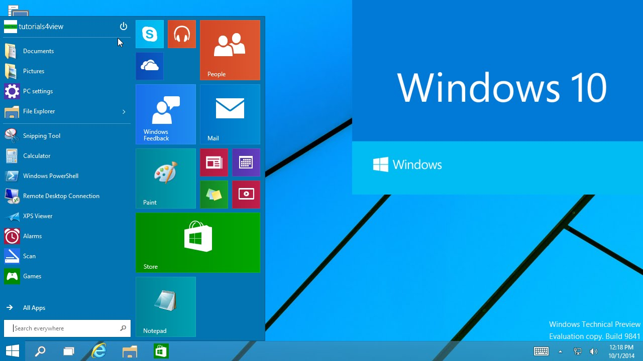 Windows 10 technical preview first look 1080p youtube
